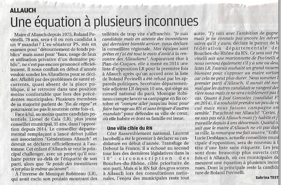 Allauch - listes municipales 2020 - La Provence - équation à plusieurs inconnues